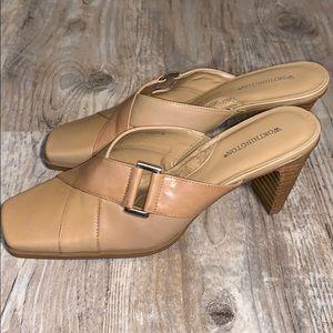 Slip on square toe mules